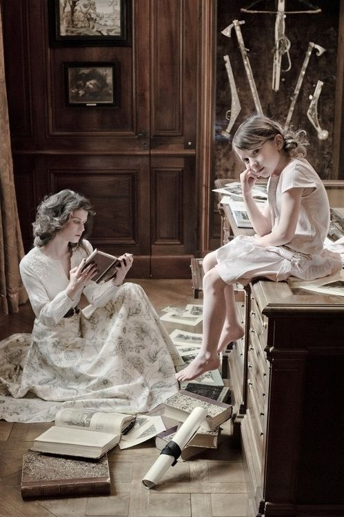 """books0977:  Reading in Usher's house. Reading materials abound. Copyright by French photographer Nafissa Harvoire. """"Reading furnishes the mind only with materials of knowledge; it is thinking that makes what we read ours."""" — John Locke (1632 - 1704)"""