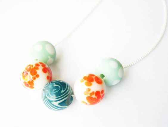 Beaded Jewelry Orange and Blue Necklace by SYMBOLICinteraction, $20.00