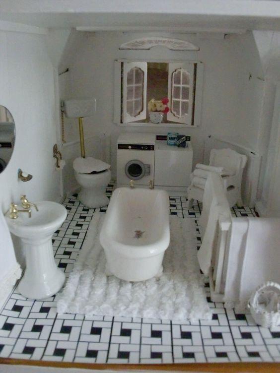 Shabby chic dollhouse 3 ba o en miniatura pinterest - Bano shabby chic ...