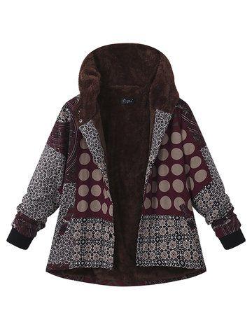 US Womens Winter Fleece Jacket Coat Long Sleeve Hooded Floral Parka Outerwear