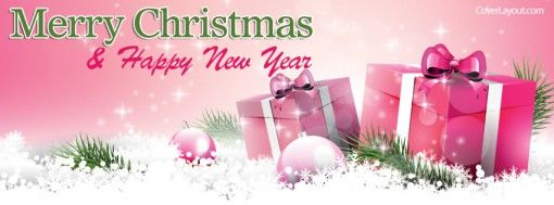 Merry Christmas Happy New Year Pink Gifts Cover plus many other high quality Covers for your Facebook profile at CoverLayout.