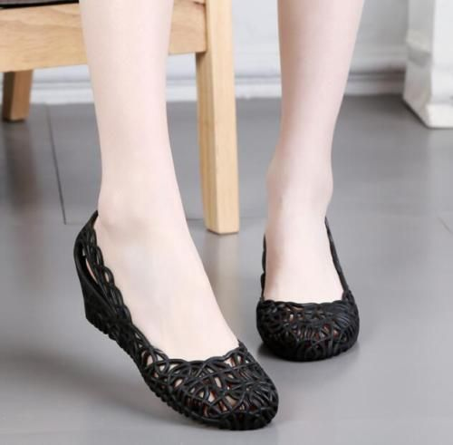 Womens New Flat Hollow Out Ballerina Sandals Summer Jelly Beach Pumps Shoes Size