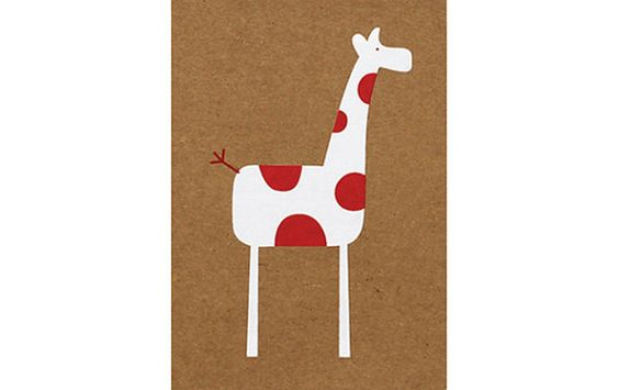 Greeting Card - At The Zoo, Red and White Spotty Giraffe