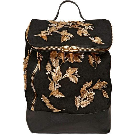 GIUSEPPE ZANOTTI Embroidered & Embellished Backpack - Black (16,255 CNY) ❤ liked on Polyvore featuring bags, backpacks, black, day pack backpack, giuseppe zanotti, leather daypack, embroidered backpacks and genuine leather bag