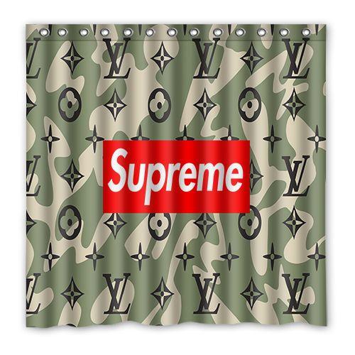 Louisvuitton Lv Supreme Gucci Showercurtain Shower Curtain Bath Decoration Decor Gift Fanart Birthday Dengan Gambar