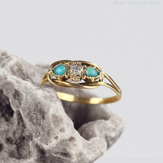 Victorian Turquoise & Diamond Ring 18k Gold, Antique Engagement Ring Antique Turquoise Ring Antique Diamond Ring Persian Turquoise Jewelry by HeartofHeartsJewels on Etsy