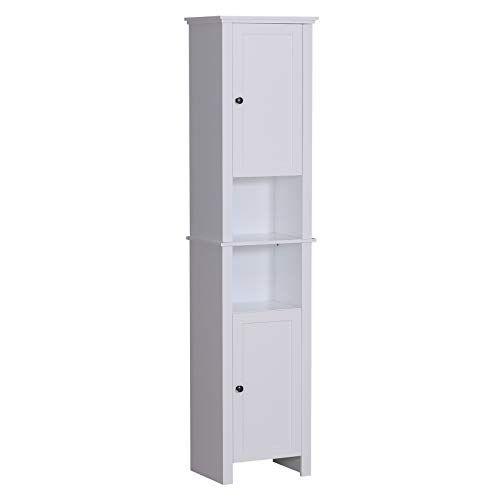 Homcom 67 Wood Free Standing Bathroom Linen Tower Storage Cabinet