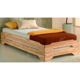 """Jeu de 2 lits en pin empilables """"DUO"""" > Ecopin, 139€... Pour le bureau, à utiliser en banquettes d'angle, recouvertes d'un plaid avec des coussins, convertibles en lits pour invités"""