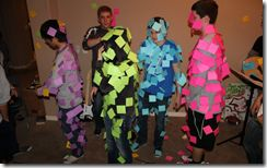 """""""The Post-It Note Club"""". Kids are divided into groups of 4-5 (same gender is best). Give them a bunch of Post-It note pads, and have them designate a person to be post-it(ed?).   The goal is to cover the person entirely with post its in five minutes. The team who covers their person with the most post-its wins. (Any post-its that fall off do not count)  The site has ideas for more games."""