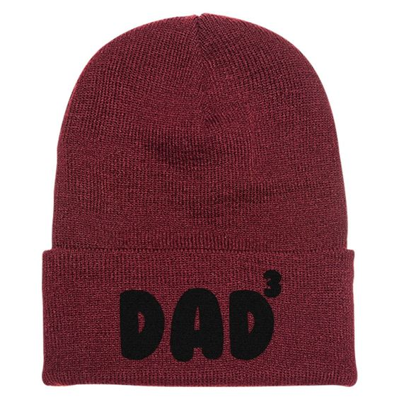 Dad Of 3 Embroidered Knit Cap