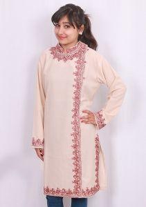 Cream color designer kurti  kashmiri aari work embroidery  cotton -summer cool