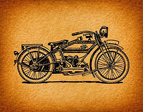 Old Fashioned Motorcycle Print For Wall Art Home Decoration Antique Motorcycle Illustration Print With A Vintage Clip Art Vintage Motorcycle Art Print Prints