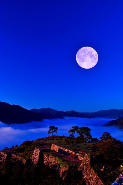 Castle in the Sky - Moonlight in Takeda Castle Ruins, Asago, Hyogo, Japan