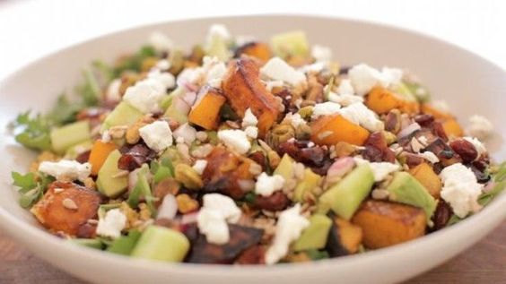 This Festive Hearty Salad if Filled with Quinoa, Veggies and Dried Fruit #squash trendhunter.com