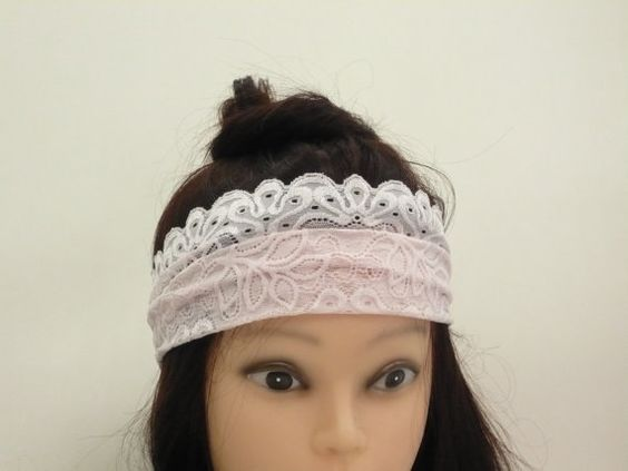 Wide lace adjustable headband  Adult Wide Boho Hair by artstudio88
