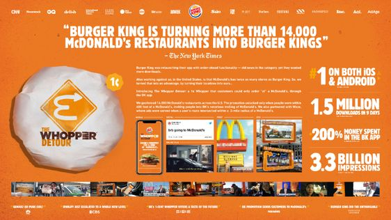 The One Club The One Show Archive Of Award Winners Whoppers Burger King Mcdonald S Restaurant