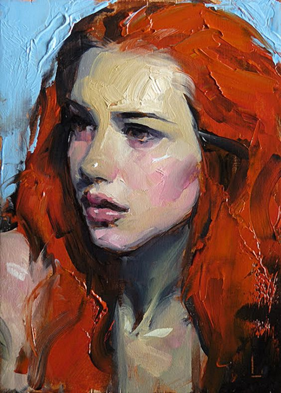 """Citrine"" - John Larriva, oil on hardboard, 2015 {figurative #expressionist art female redhead #impasto woman face portrait painting #loveart} larriva.blogspot.com:"