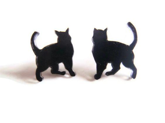 Black Cat Studs - Walking cat earrings by SmallGreyCat on Etsy https://www.etsy.com/listing/128153180/black-cat-studs-walking-cat-earrings