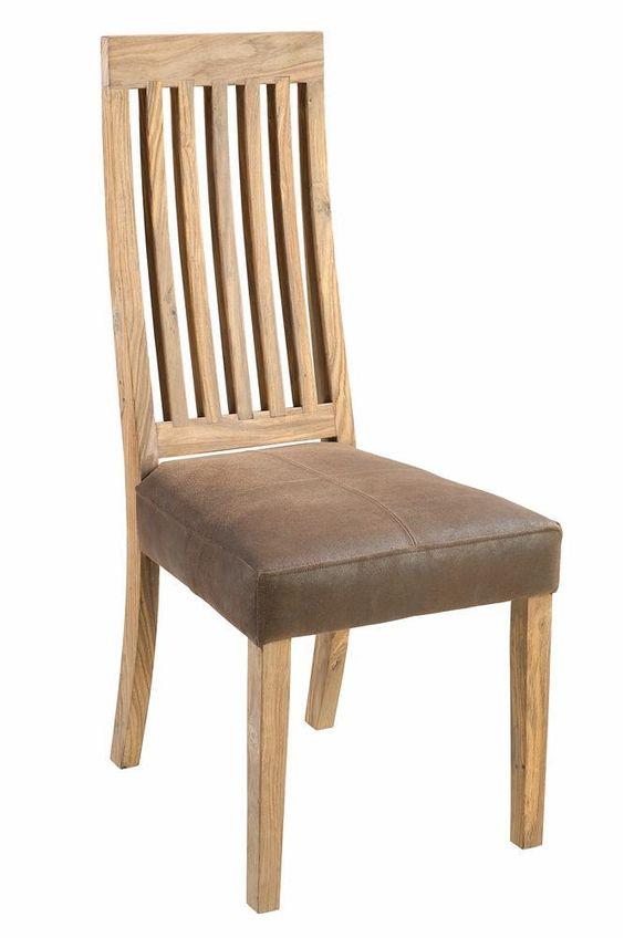Batamba, chaise dos en bois siège en masai brun