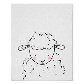 Sheep Farm Animal Nursery Lamb Wall Art Monochrome 2020 Hayvan