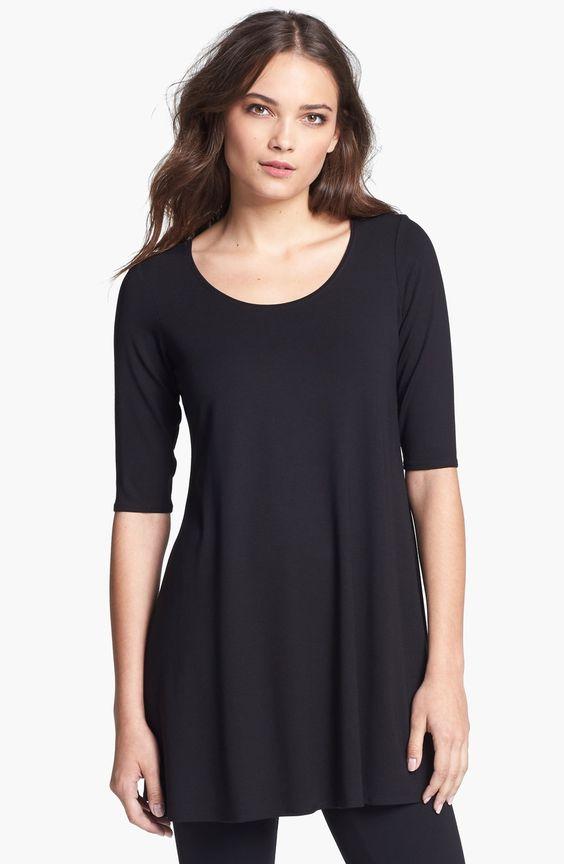 Eileen Fisher Scoop Neck Jersey Tunic (Regular & Petite):