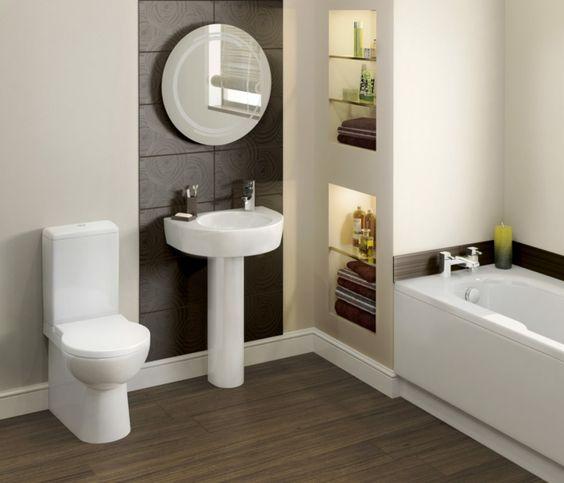 badezimmer gestalten feng shui weiße badmöbel runder badspiegel, Hause deko