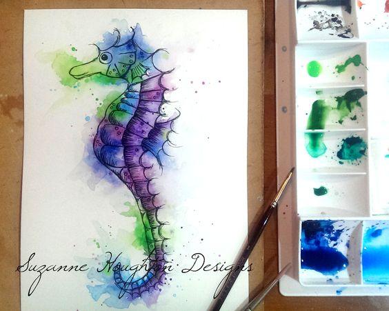 Watercolour seahorse