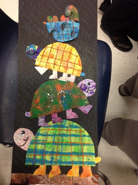 4th grade turtle collages after printmaking paper on day one.: