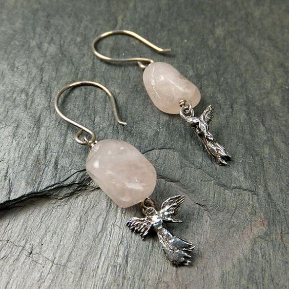 Angel Earrings Asymmetrical Sterling Silver Angel Rose Quartz Nugget Earrings byAngeline