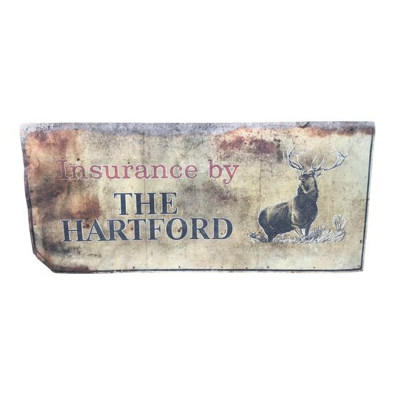 Large Vintage Rustic The Hartford Insurance Advertising Sign