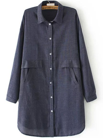 Lapel Button-Down Navy Blouse