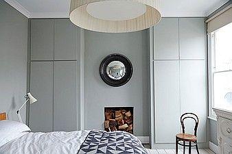 Grey bedroom, built in wardrobes