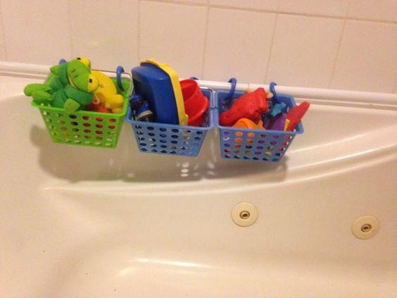 Dollar store tub toy organization!
