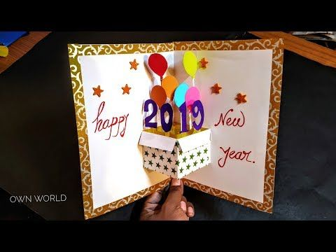 Very Easy New Year Pop Up Greeting Cards How To Make New Year Card At Home Craft Youtube Pop Up Greeting Cards Diy Pop Up Cards New Year Cards Handmade