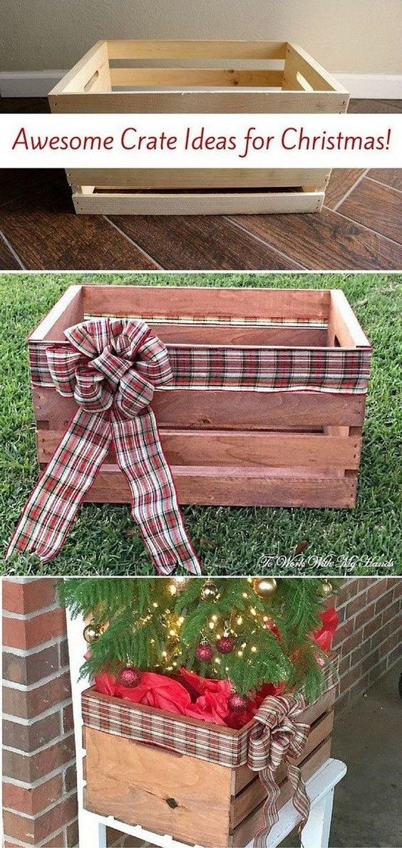 DIY Faux Wood Crate Planter for Christmas. Turn the simple wood crate into this beautiful planter for your Christmas decoration.: