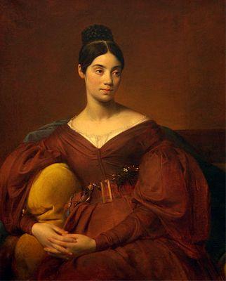 """Auguste Hyacinthe Debay  """"Portrait de Madame Crucy""""  Soeur de l'artiste Vers 1832 -Mode Louis Philippe Robe Couleur Puce"""