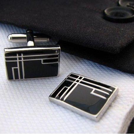 Manchetknoop zwart Geometric