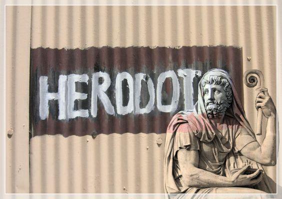 Herodoto. Imagen de B. Murch con escultura en el Louvre