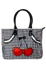 Cherry Houndstooth Tote Bag by Sourpuss