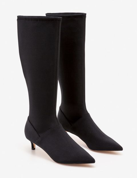 Reach For Sophisticated Style In Our Kitten Heel Boots This Sleek Knee High Is Crafted From Stretchy Grosgrain For A Fitted Look That S Boots Kitten Heel Boots Heels
