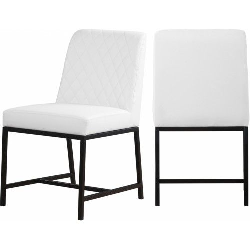White Faux Leather Diamond Quilted Dining Chair Black Legs Set Of 2 In 2020 Leather Kitchen Chairs White Leather Chair Upholstered Dining Chairs