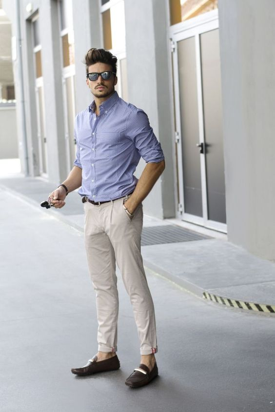 Shop this look on Lookastic:  https://lookastic.com/men/looks/dress-shirt-chinos-loafers-belt-sunglasses/10406  — Dark Brown Sunglasses  — Light Blue Check Dress Shirt  — Dark Brown Leather Belt  — Beige Chinos  — Dark Brown Leather Loafers