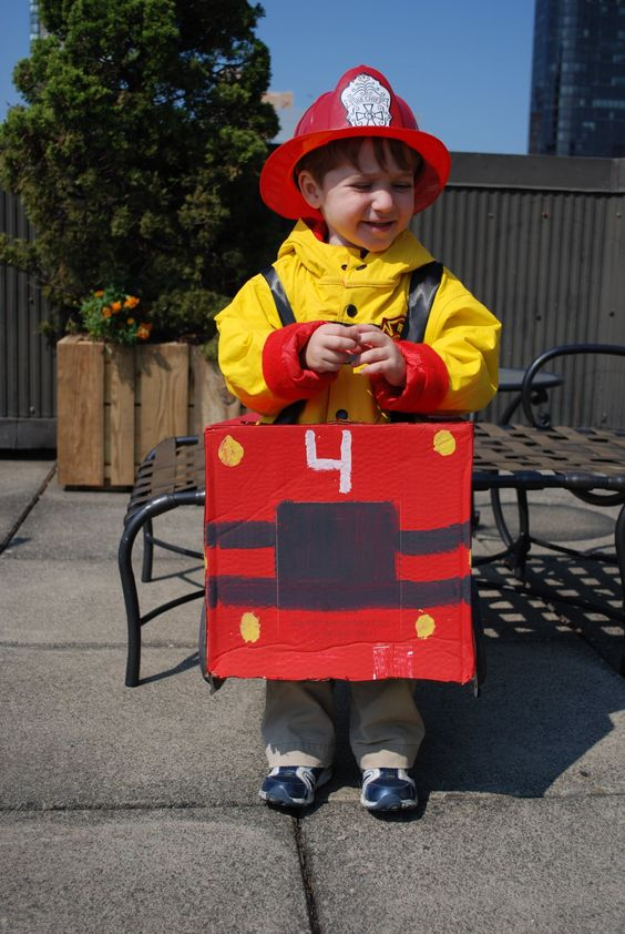 Have your child dress in his favorite fire man clothing and place the costume…