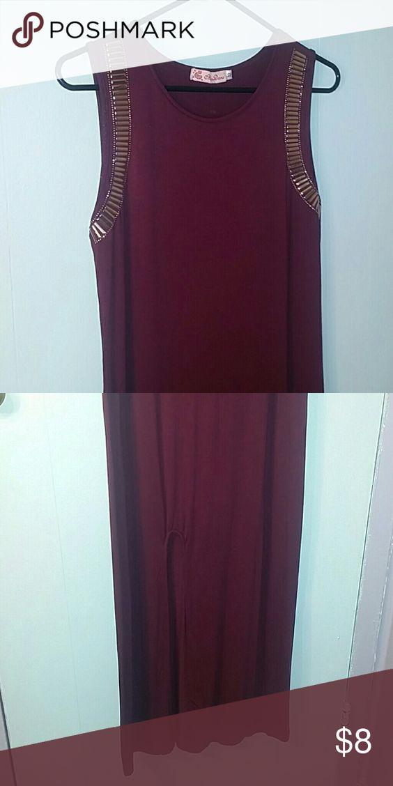   Plum Sleeveless Maxi   Plum, Side Slit, Full Length, Gold Detail, Sleeveless Dresses Maxi