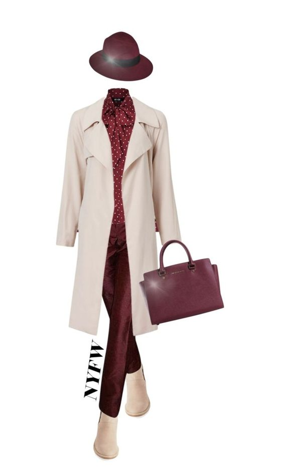 """""""NYFW: Cream and Burgundy"""" by indigo-summer ❤ liked on Polyvore featuring Eileen Fisher, Dolce&Gabbana, Michael Kors, Maison Michel, women's clothing, women, female, woman, misses and juniors"""