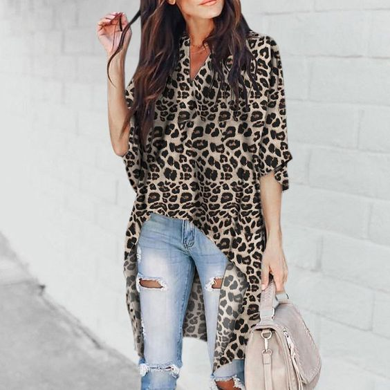 Product  Name Chic V-collar irregular leopard printblouses SKU ins99C8E9DAA498 Gender Women Style Sexy/Fashion/Elegant Occasion Casual/Vacation/Party Material Polyester Decoration Printing Please Note: All dimensions are measured manually with a deviation of 1 to 3CM