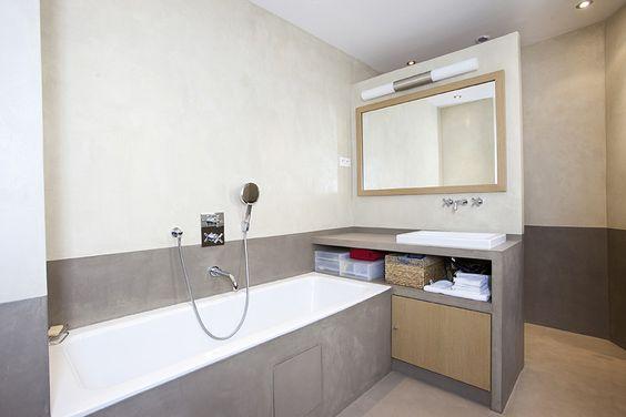 mercadier enduit beton colore ebc salle de bains douche couleurs moket et amande - Beton Colore