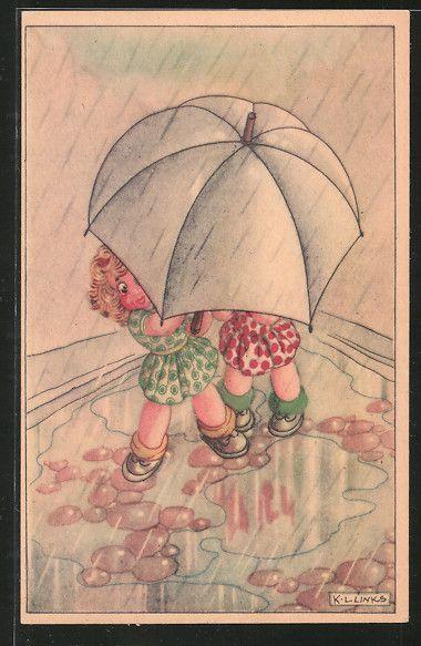 old postcard: Künstler-AK Karel L.Links: Kinder stehen unter einem Regenschirm im Regen