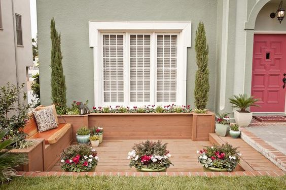 As seen on HGTV's Curb Appeal: Front Windows, Yard Makeovers, Front Yard Patio Idea, Front Yard Patio Curb Appeal, Front Yards, Window Trim, Hgtv, Backyard Grotto, Front Yard Deck