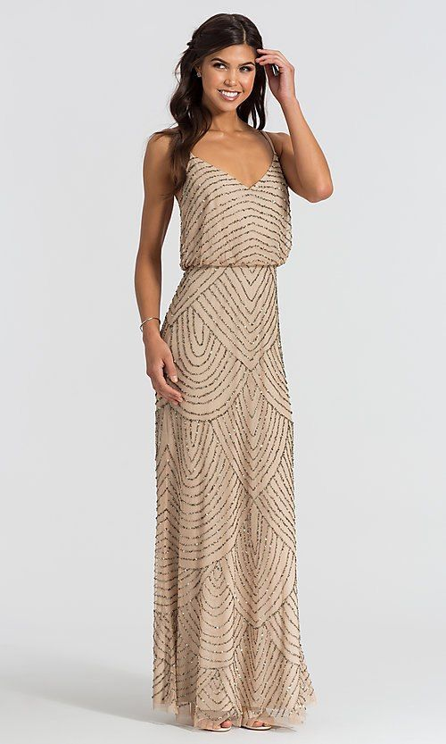 Image Of Adrianna Papell Art Deco Long Taupe Bridesmaid Dress Style Ap 091866700 Tp Fro Taupe Bridesmaid Dresses Art Deco Bridesmaid Dresses Taupe Bridesmaid